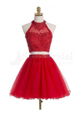 8f2c0363ca5 Beaded Red High Neck Two Piece Cocktail Dress Lace Appliques Crop Top –  mypuffgirl