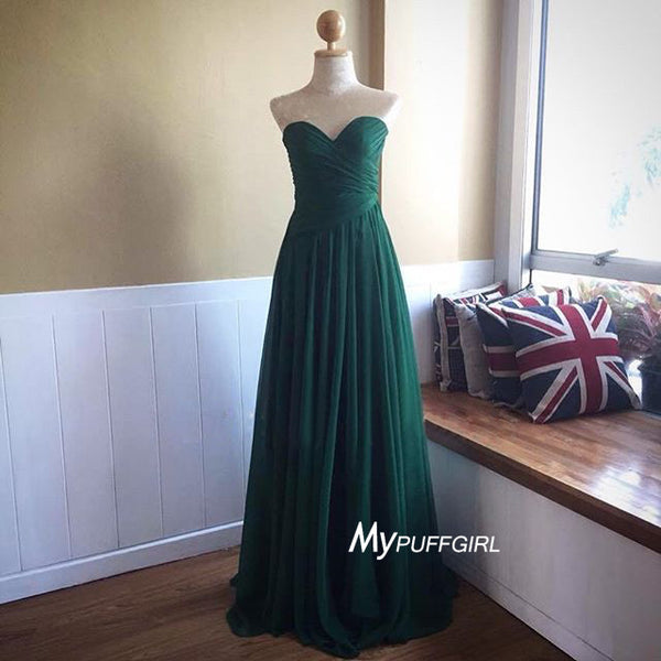 Dark Green Sweetheart Chiffon Bridesmaid Dress With Ruched Bodice