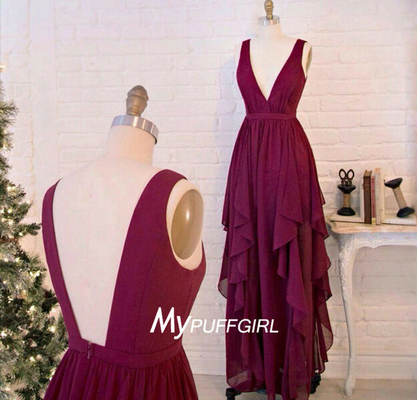 Burgundy V Neck Open Back Chiffon Bridesmaid Gown With Layered Skirt