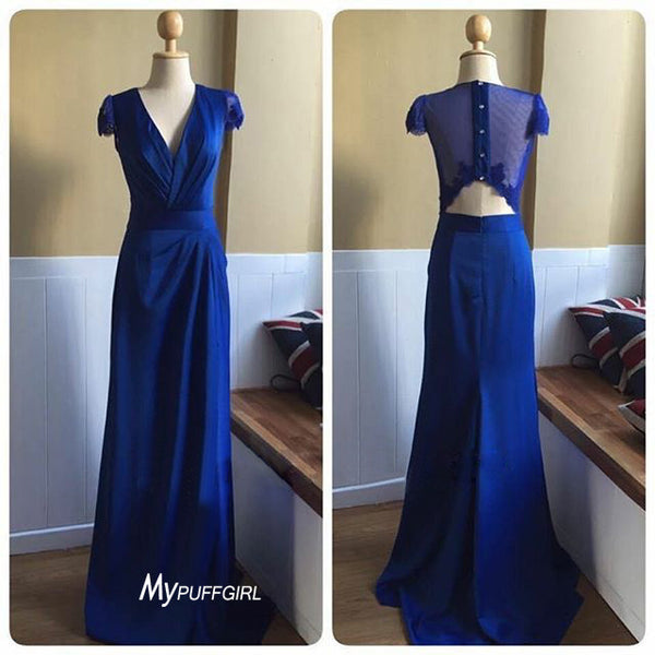 Blue V Neck Cap Sleeve Sheath Formal Gown With Cut Out Back