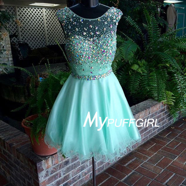 Mint Tulle Ilusion Open Back Cocktail Dress With Colorful Stones And Crystals