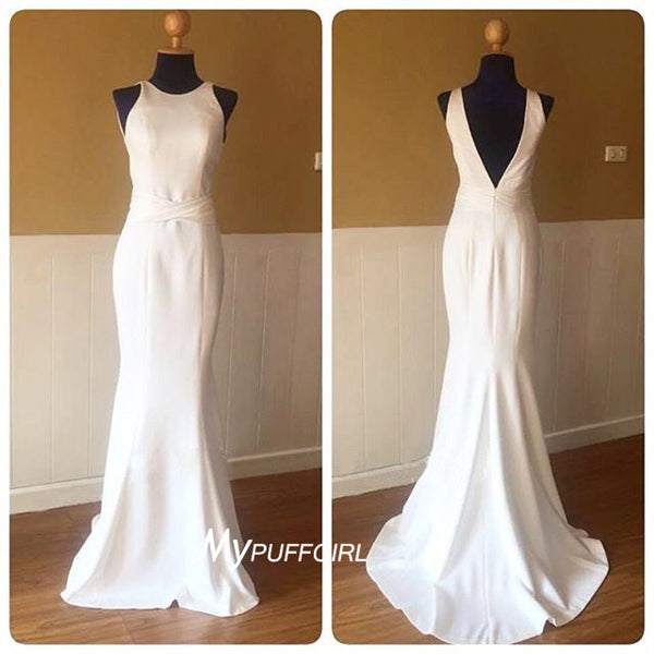 Ivory Sleeveless Satin Open Back Mermaid Formal Gown , Evening Dress