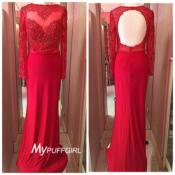 Beaded Red Jersey Long Sleeve Open Back Prom Dress ,Pangent Gown