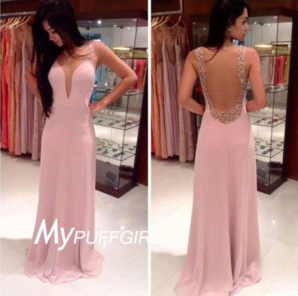Pink Fitted Plunging V Neck Beaded Prom Gown With Sheer Back