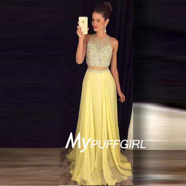 Yellow Sleeveless Two Piece Prom Dress With Fully Beaded Crop Top