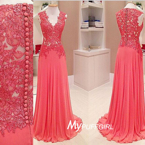 Watermelon Red V Neck Lace Appliques Chiffon Prom Dress With Covered Button