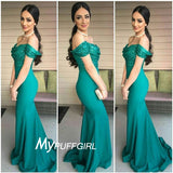 Green Off The Shoulder Mermaid Prom Dress With Sequined Top
