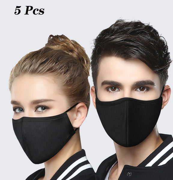 5 Pcs Black Dust Masks Reusable Breathable Face Shields Mask With Free 5 Pcs Replaceable Filters Great For Office Classroom Outdoor