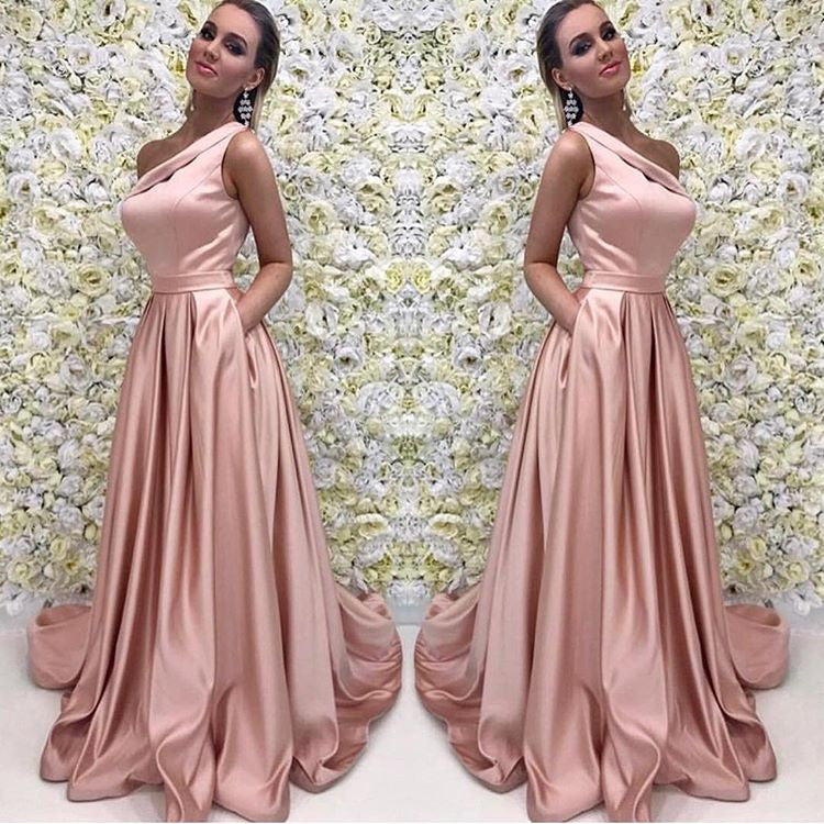 Blush Pink One Shoulder Bridesmaid Dress,Satin Formal Gown With ...