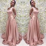 Blush Pink One Shoulder Bridesmaid Dress,Satin Formal Gown With Pockets