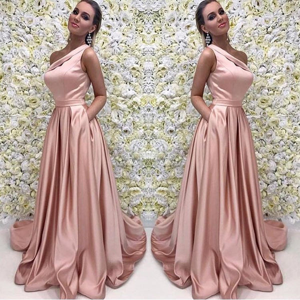 cd78931a8ad9 Blush Pink One Shoulder Bridesmaid Dress