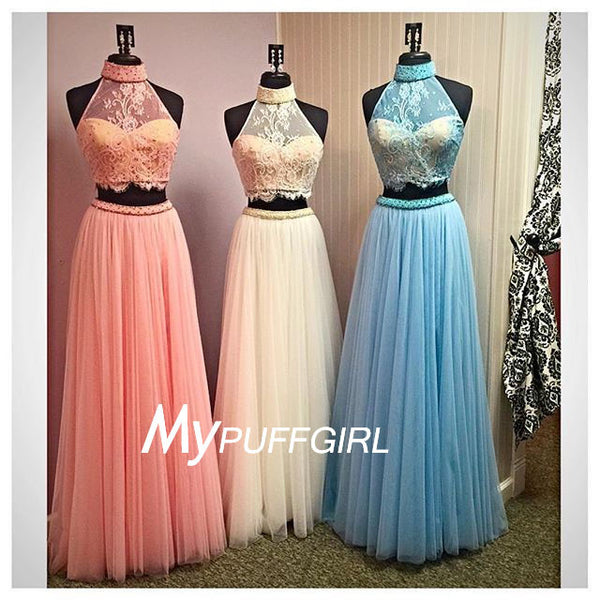 2016 Tulle High Neck Two Piece Prom Dress With Sheer Lace Crop Top