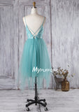 Mint Tulle Open Back Homecoming Dress With Lace Bodice
