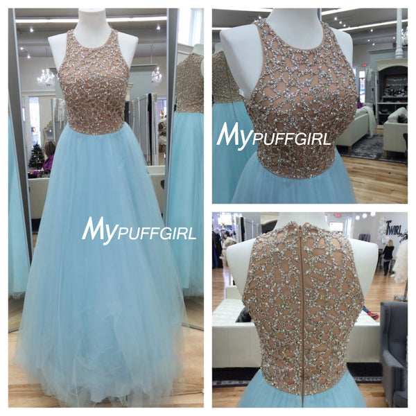 Light Blue Tulle Sleeveless A Line Prom Gown With Sequined Nude Bodice