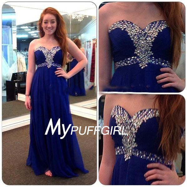 Royal Blue Beaded Prom Dress , Sweetheart Empire Chiffon Formal Gown