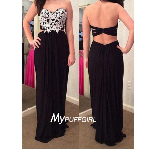 Black Sweetheart Lace Appliques Chiffon Prom Dress With Cut Out Back And Waist