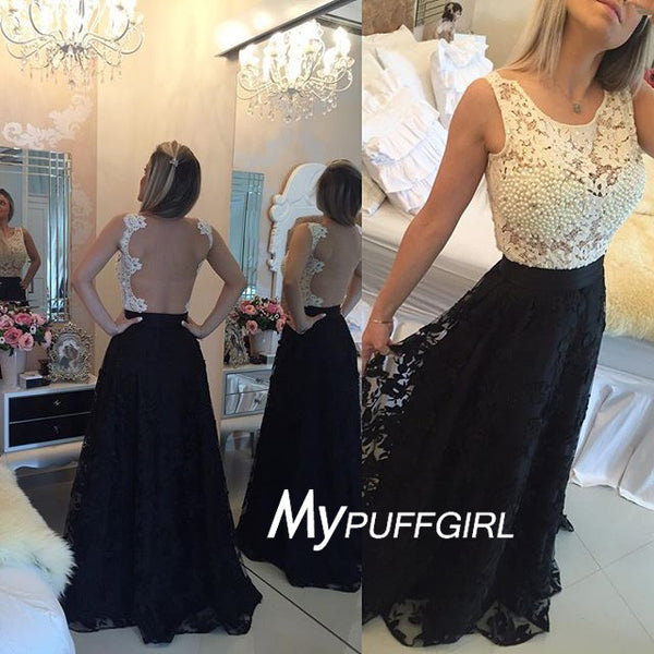 2016 Ivory / Black Lace Bateau Sheer Back Formal Gown With Pearls