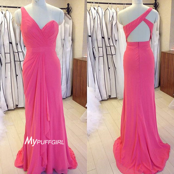 Pink One Shoulder Ruffled Long Bridesmaid Dress With Open Back