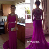 Beaded Fuchsia Sleeveless Prom Dress, Evening Gown Sheer Back