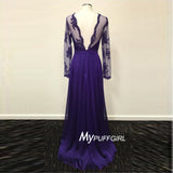 Purple Sheer Long Sleeve V Back Formal Gown With Lace Appliques