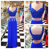 Chiffon Sweetheart Two Piece Prom Dress With Beaded Lace Crop Top