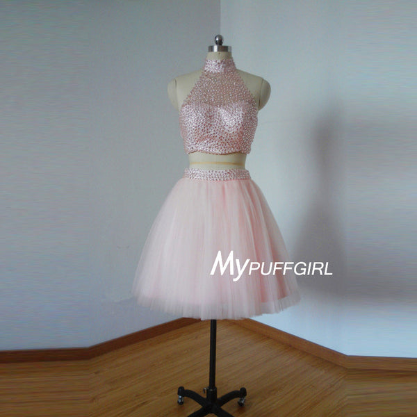 Beaded Pearl Pink High Neck Two Piece Cocktail Dress With Open Back