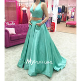 Mint Green Taffeta V Neck Halter Two Piece Prom Dress With Pocket