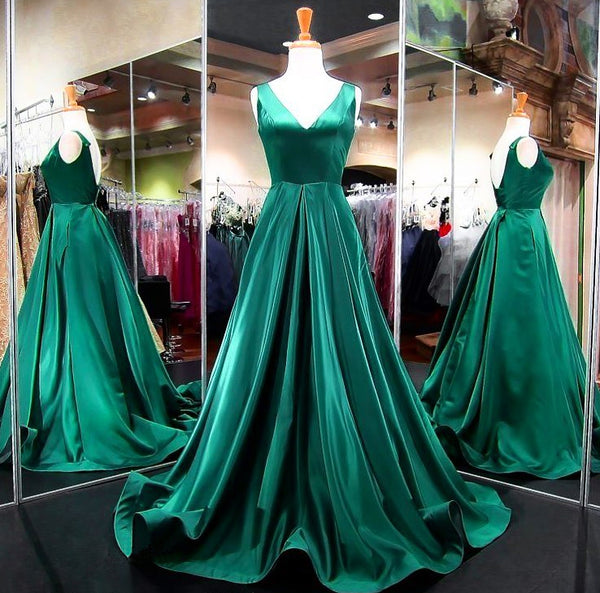 Green Prom Dress A Line V Neck Long Formal Evening Gown With Open Back