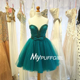 Teal Tulle Beaded Homecoming Dress ,Sweetheart Cocktail Dress