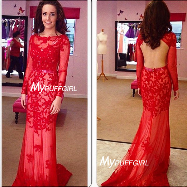 Red Fitted Sheer Long Sleeves Tulle Prom Gown With Floral Lace Appliques , Open Back