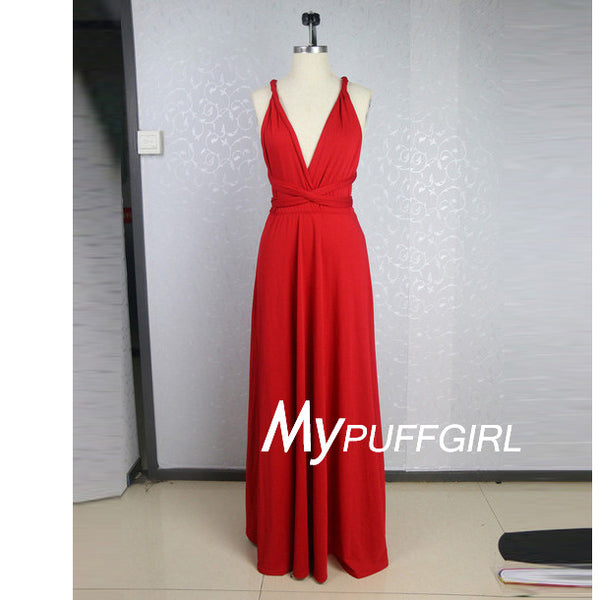 Red Deep V Neck Straps Chiffon Prom Dress With Cross Open Back