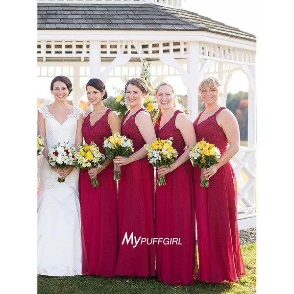 Dark Red Sleeveless Keyhole Back Bridesmaid Gown With Lace Bodice