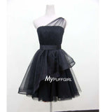 Black Sheer One Shoulder Short Party Dress With Asymmetric Skirt
