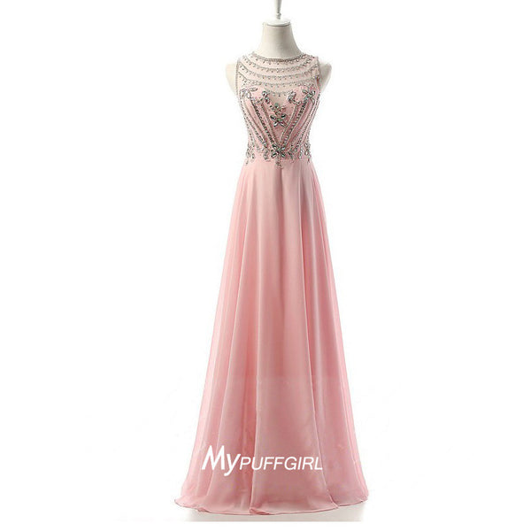 Pink Illusion Chiffon Prom Dress With Beaded Bodice And Sheer Back