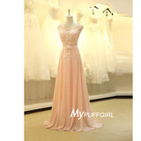 Pear Pink Illusion Cap Sleeves Chiffon Long Prom Dress With Beaded Lace Appliques