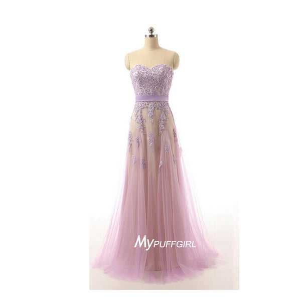 Sweetheart Tulle A Line Prom Dress, Homecoming Dress With Lace Appliques
