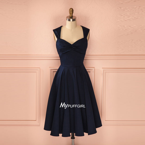 Navy Blue Sweetheart Cap Sleeve Satin Short Bridesmaid Dress
