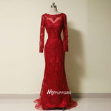 Fit And Flare Red Bateau Long Sleeves Formal Prom Gown With Beaded Lace Appliques