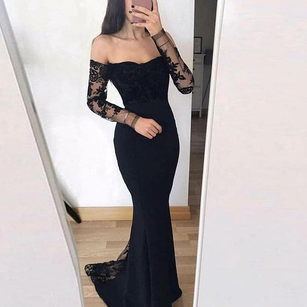 9ea226c3fd77 2019 New Arrival Prom Dress Off The Shoulder Mermaid Formal Evening Gown  Long Sleeves