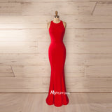 Red Sleeveless Jersey Mermaid Formal Gown ,Prom Dress With Open Back
