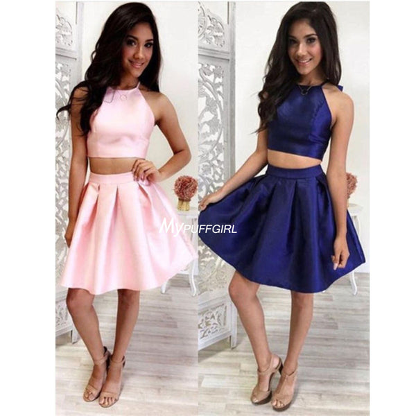Halter Two Piece Satin Cocktail Dress, Homecoming Dress, Short Dress