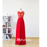Red Bateau Long Chiffon Prom Dress With Beaded Bodice And Back