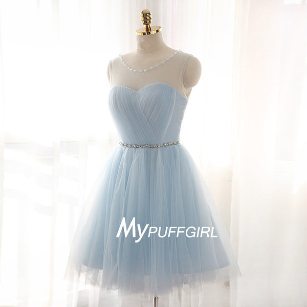 Sky Blue Tulle Illusion Cockail Dress Wih Keyhole Back
