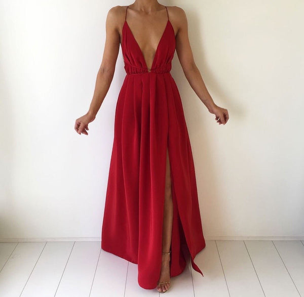 Red Deep V Neck Backless Maxi Long Dress With Cross Spaghetti Straps