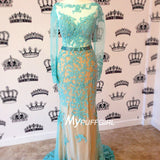 Ice Blue Fitted Sheer Long Sleeves Prom Gown With Floral Lace Appliques , Open Back