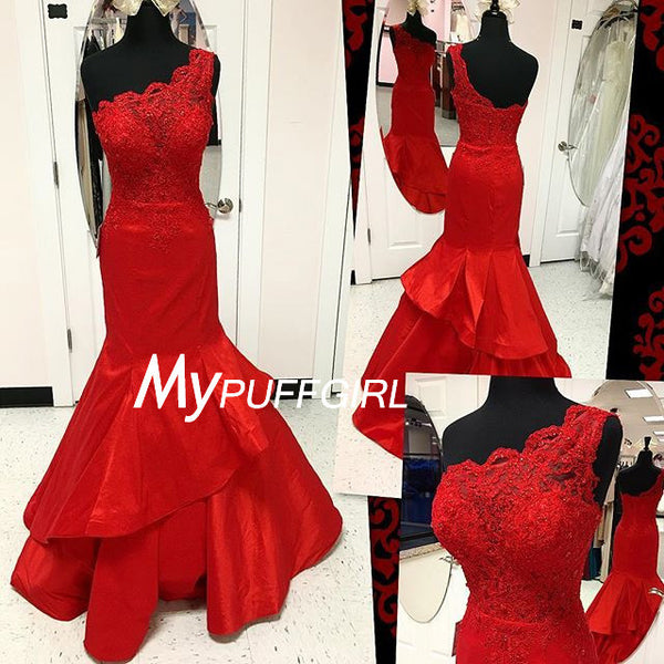 Red Taffeta One Shoulder Layered Skirt Mermaid Prom Dress With Lace Appliques Bodice