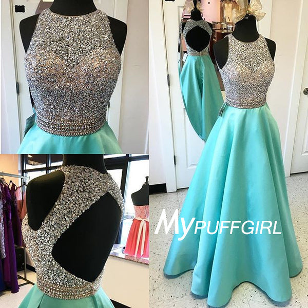 Mint Sleeveless Open Back Satin Prom Gown With Fully Beaded Bodice