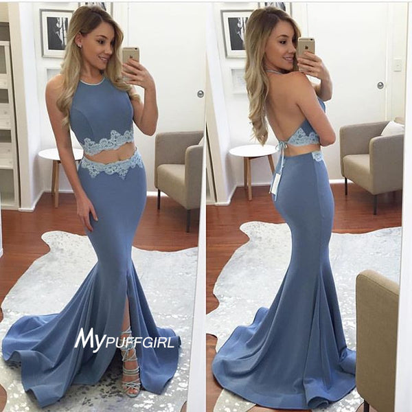 Grey Halter Two Piece Jersey Slit Mermaid Prom Dress With Lace Appliques