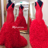 Red Plunging V Neck Mermaid Prom Dress With Ruffled Organza Skirt