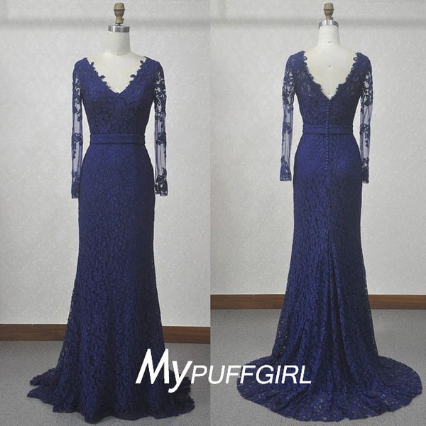 2016 Fit And Flare Navy Blue Lace V Neck Long Sleeves Evening Gown